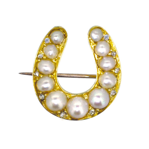 Pearl & Diamond Horse Shoe Brooch