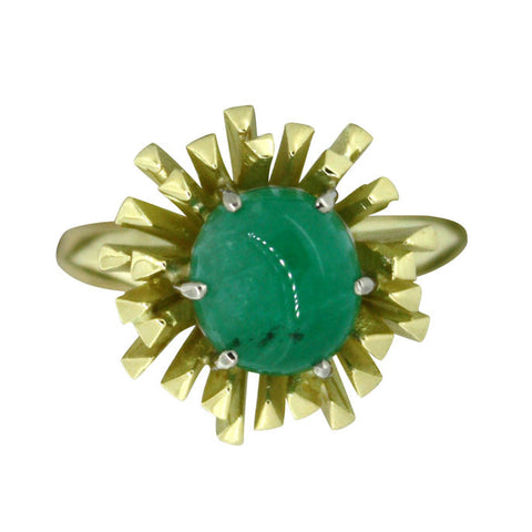18ct Yellow Gold Cabochon Emerald Ring