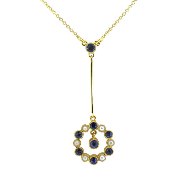 Sapphire & Pearl Pendant Necklace