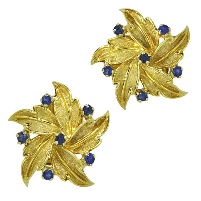 Vintage Sapphire Flower Earrings