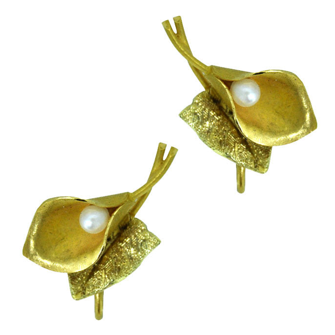Vintage Pearl & Gold Lily Earrings