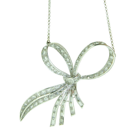 Diamond Bow Pendant Necklace