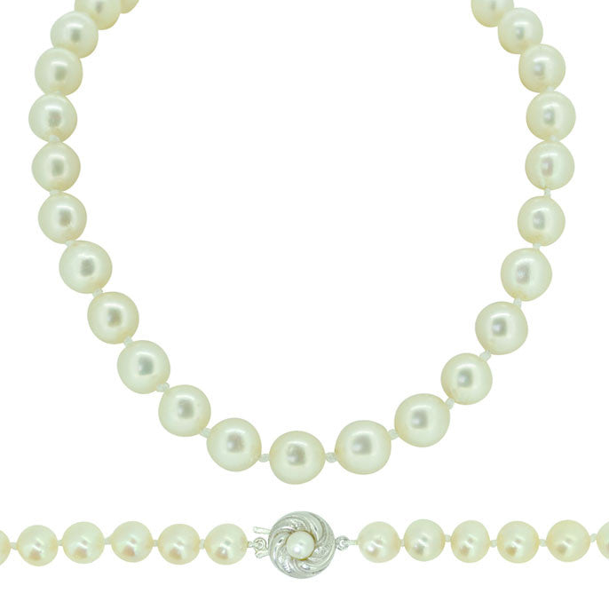 Cultured Pearl Necklace with Pearl Clasp