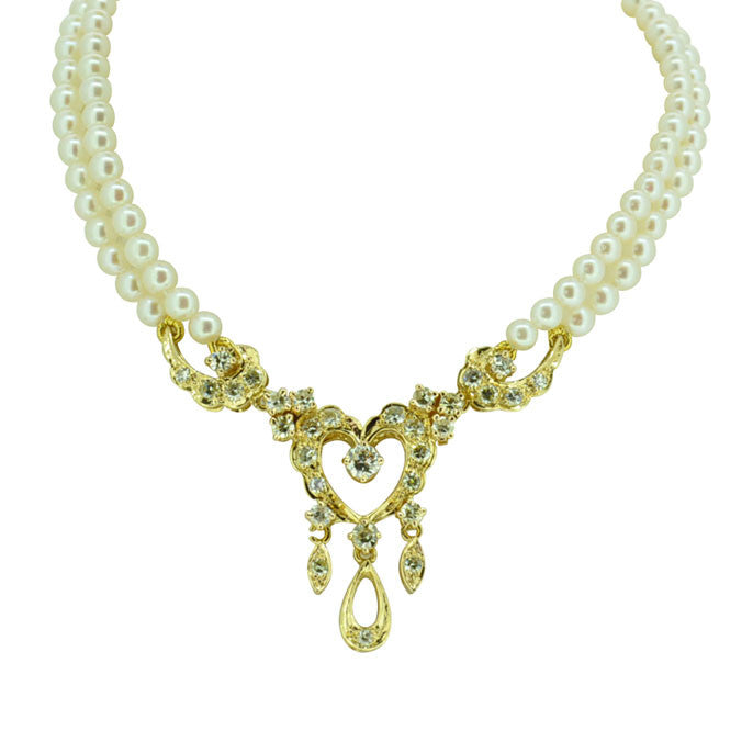 Pearl Necklace With Gold & Diamond Pendant