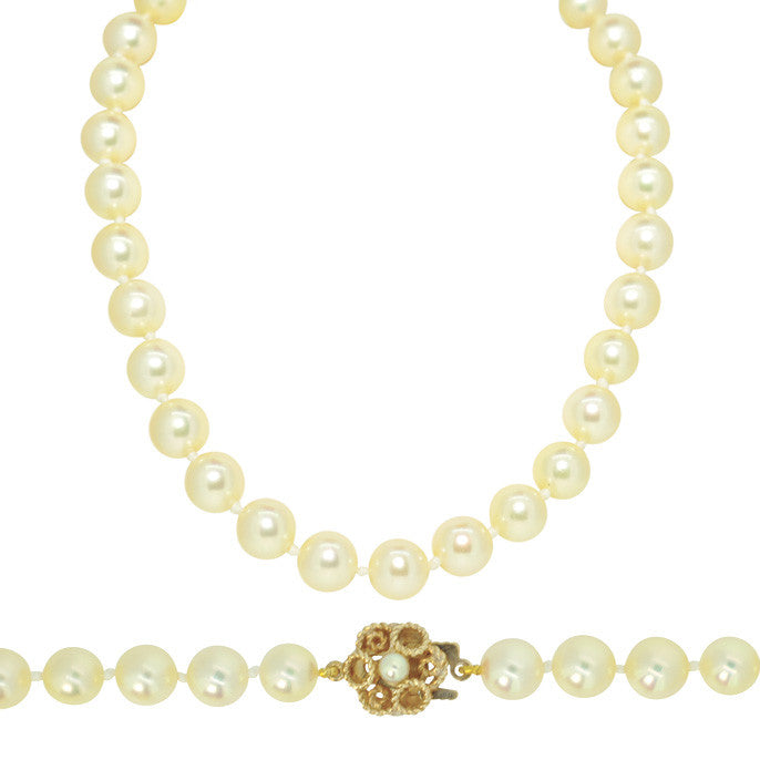 Pearl Necklace with Yellow Gold & Pearl Clasp