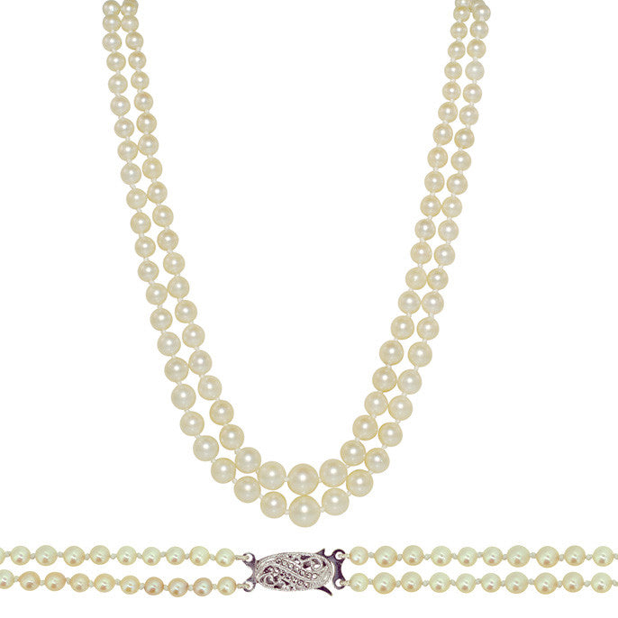 Graduated Pearl Necklace with Vintage Clasp