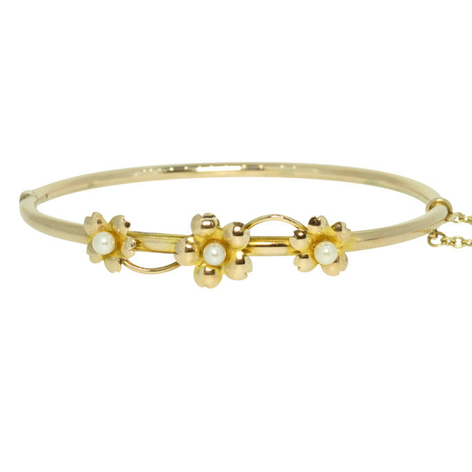Yellow Gold & Pearl Bangle