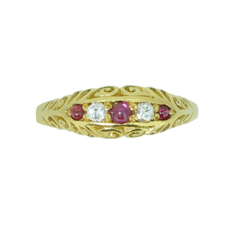 18ct Victorian Diamond & Cabochon Ruby Ring