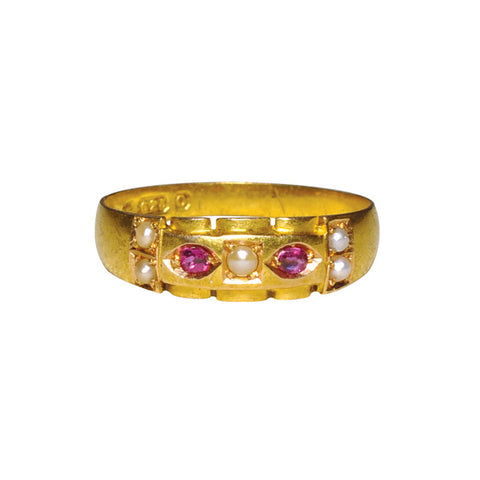 15ct Victorian Pearl & Cabochon Ruby Ring