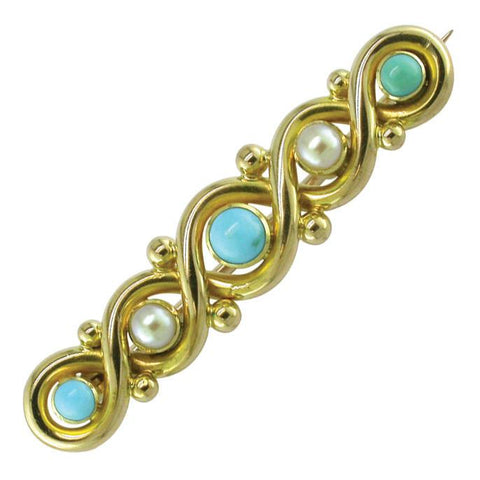 Pearl & Turquoise Bar Brooch