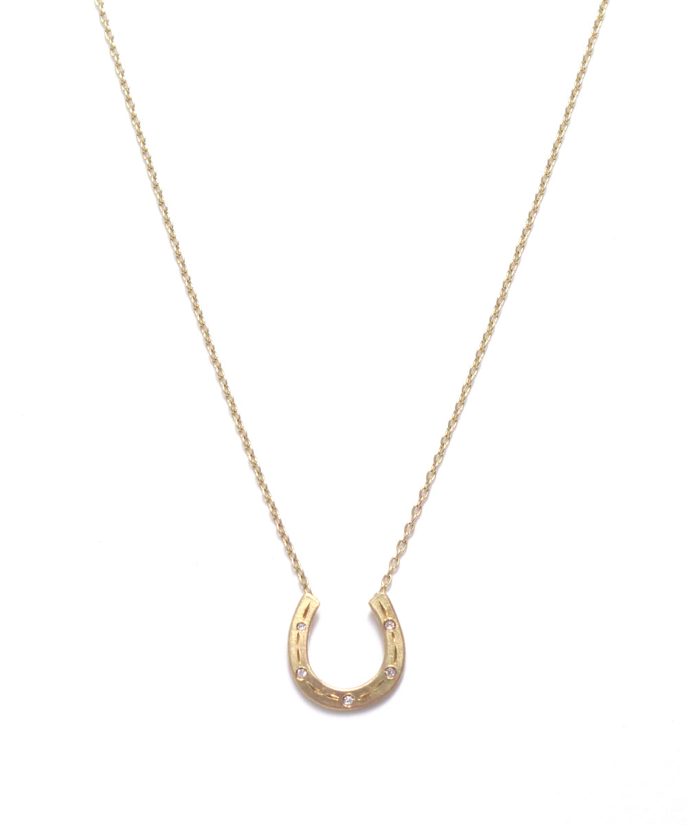 k14 horse shoe diamond necklace