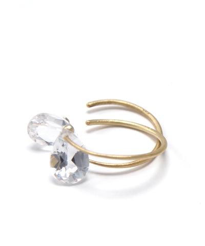 k18/ drop cut white topaz