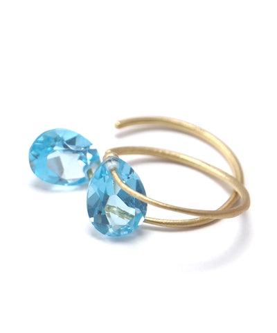 k18/ drop cut blue topaz