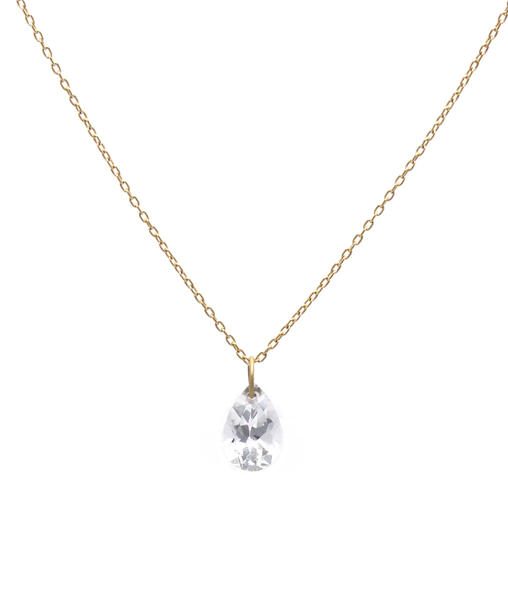 k18 drop white topaz necklace