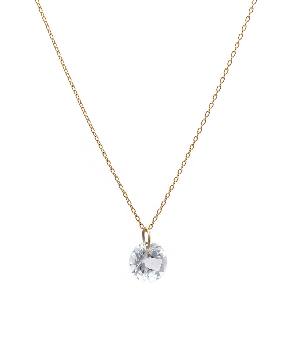 k18 round white topaz necklace