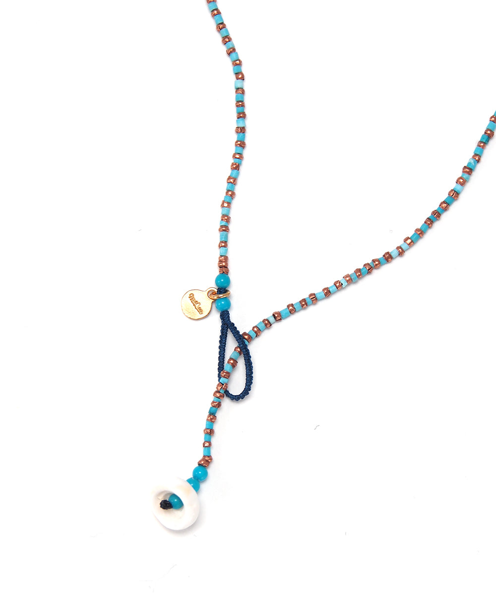 turquoise/copper beads necklace
