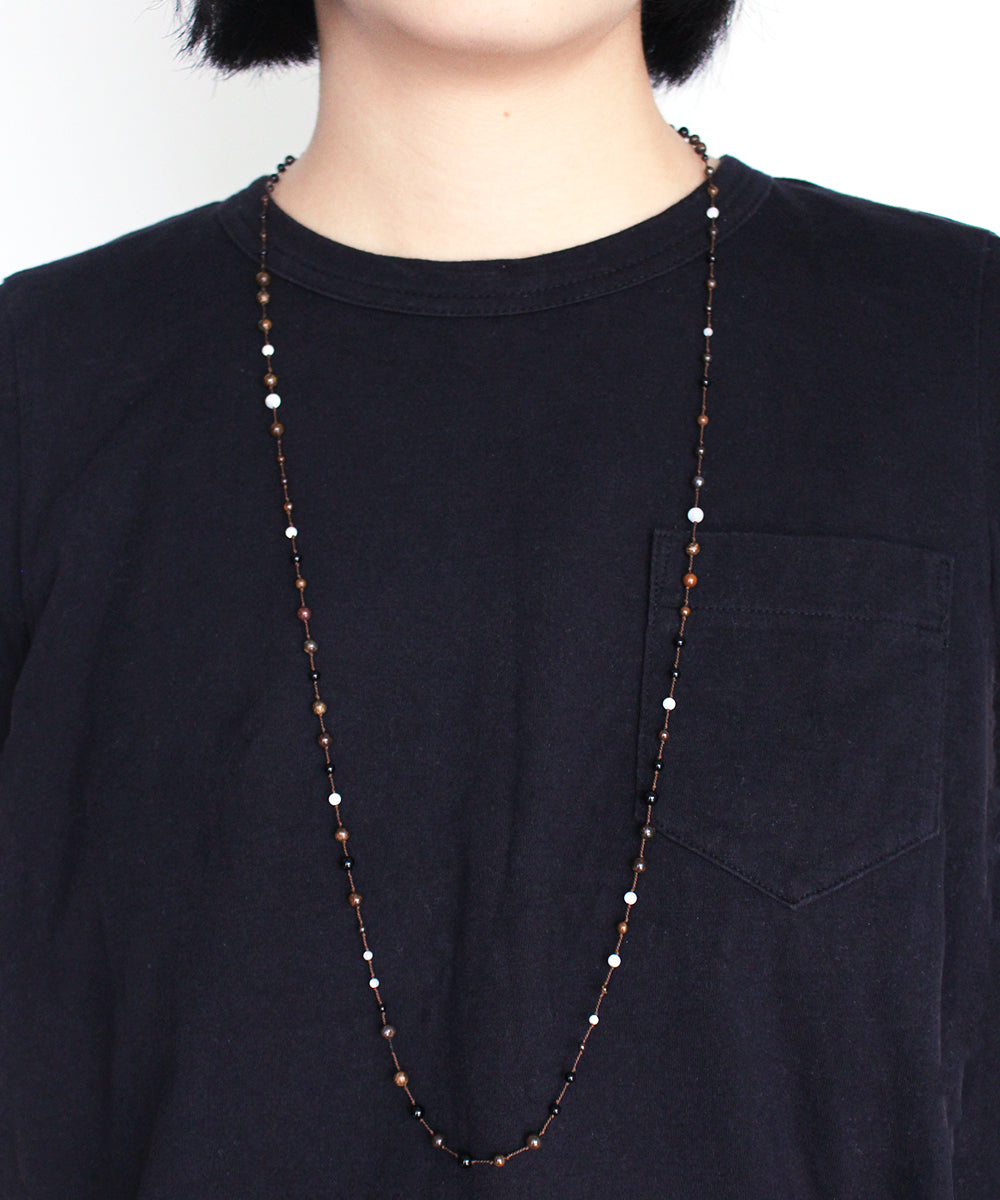 AIYANA bronzite / onyx long necklace