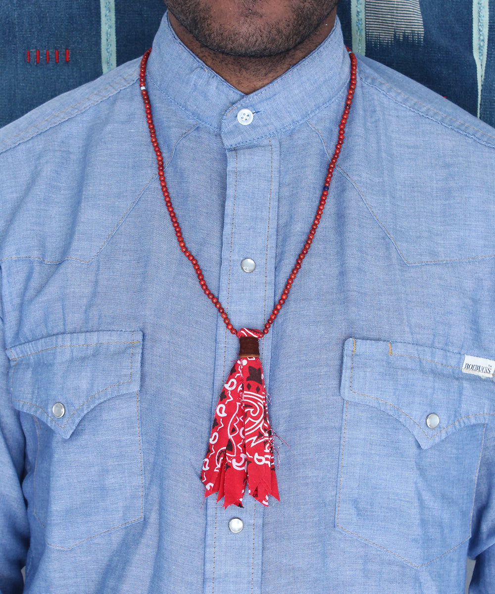 bandana suede necklace / coral