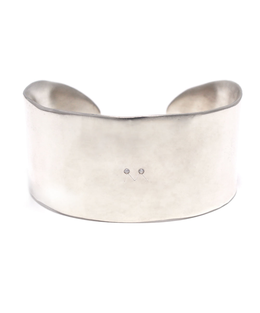 silver / cubic zirconia wide bangle
