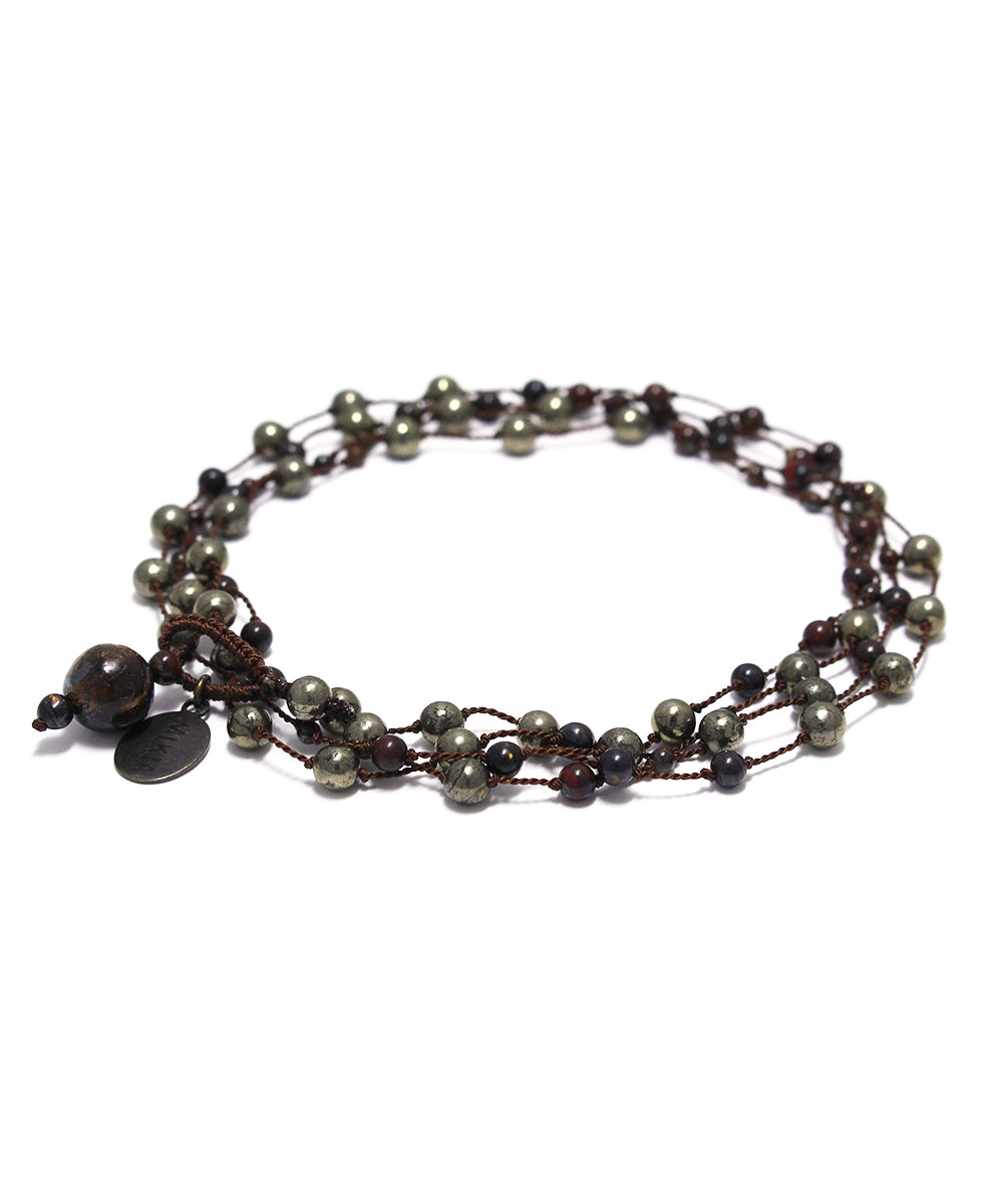 AIYANA golden pyrite / iron tiger eye necklace