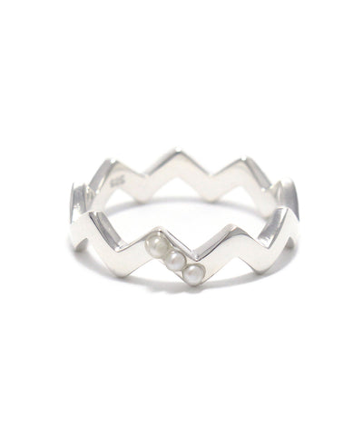 silver / freshwater pearl snake ring