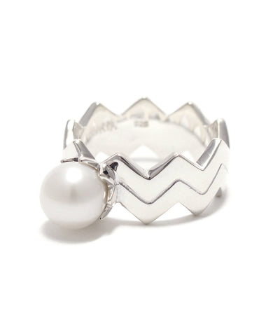 silver / freshwater pearl double snake ring