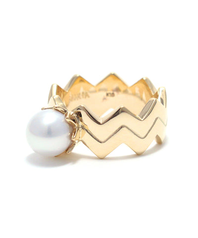 k10 gold / freshwater pearl double snake ring