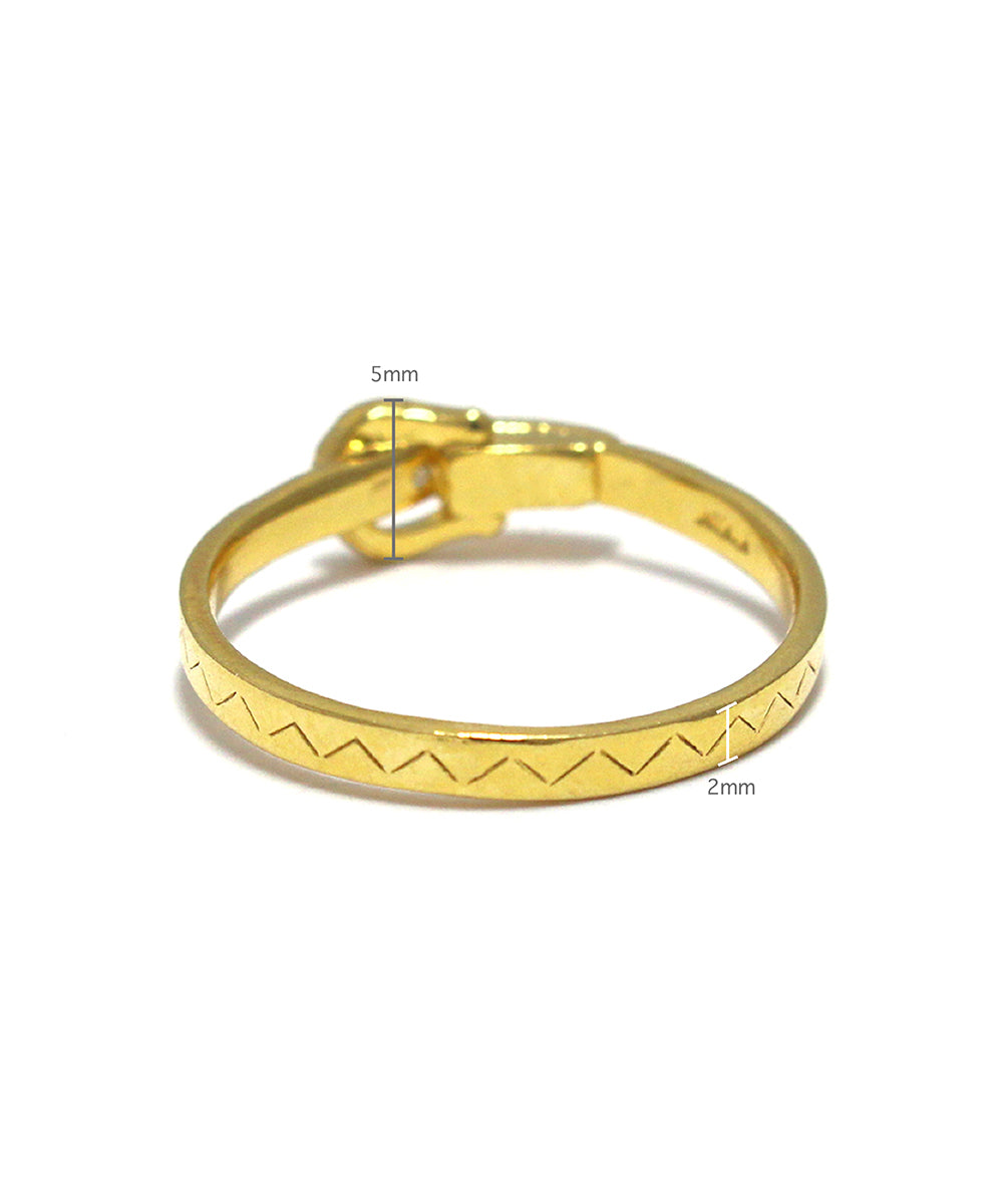 k24 gold plated / cubic zirconia buckle ring