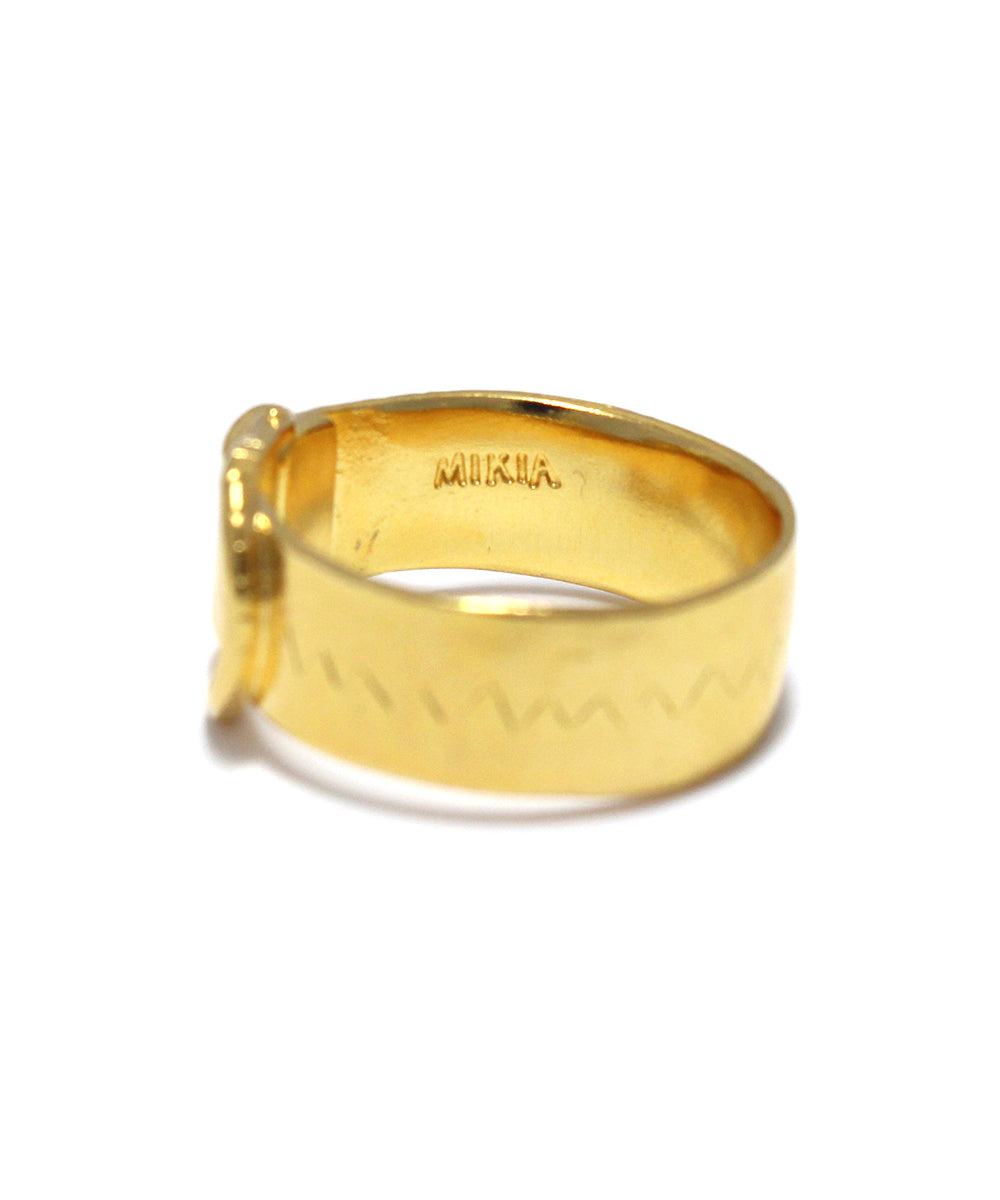 k24 gold plated / cubic zirconia wide buckle ring