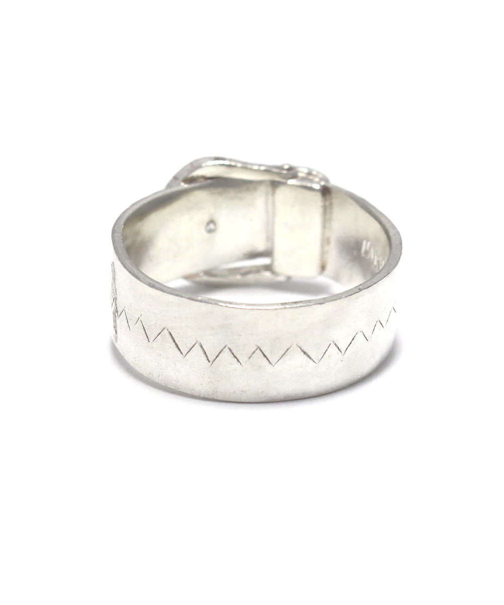 silver / cubic zirconia wide buckle ring