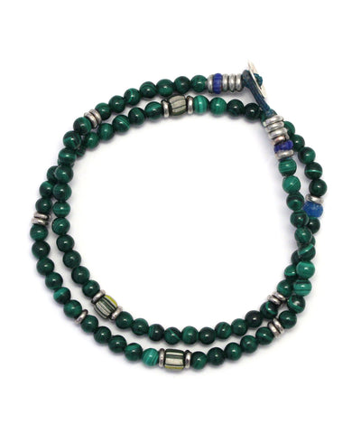 4mm double wrap bracelet / malachite