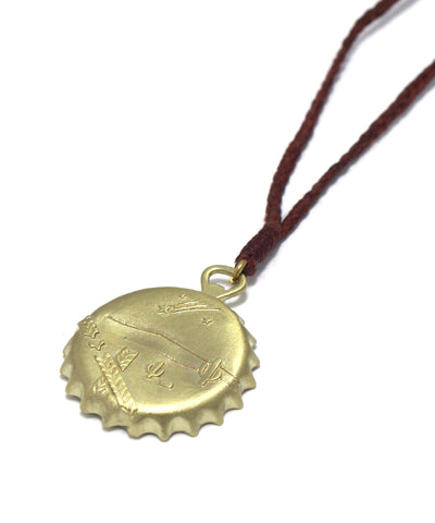 bottle cap necklace / brass brown