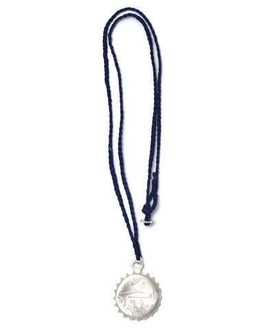 bottle cap necklace / silver navy