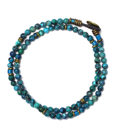 4mm double wrap bracelet / chrysocolla