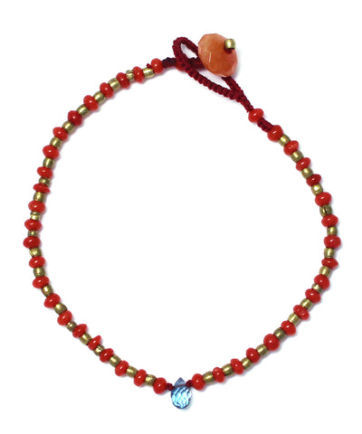 red coral / brass bracelet