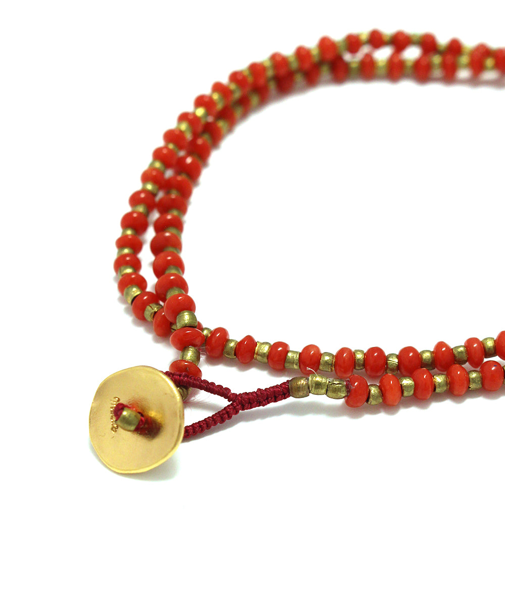 red coral / brass necklace