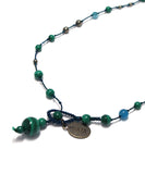 AIYANA malachite / apatite long necklace