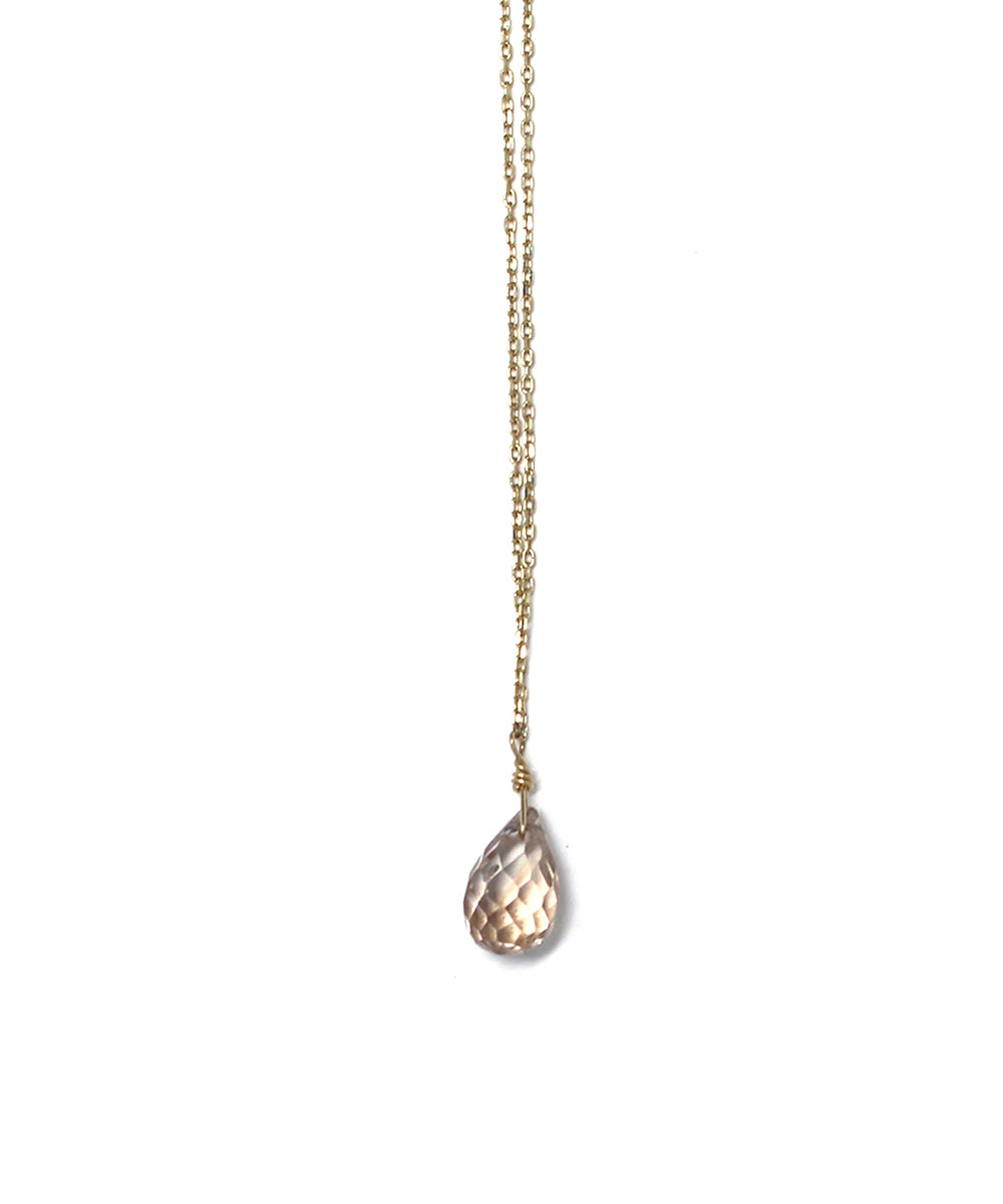 TINY CHAIN brown topaz necklace