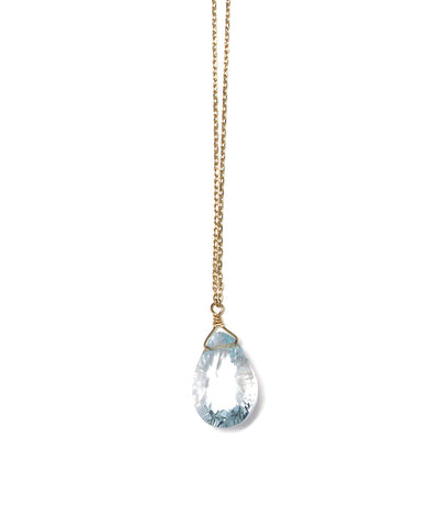 TINY CHAIN white topaz necklace