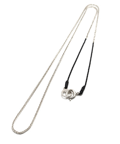 silver chain / silk cord necklace