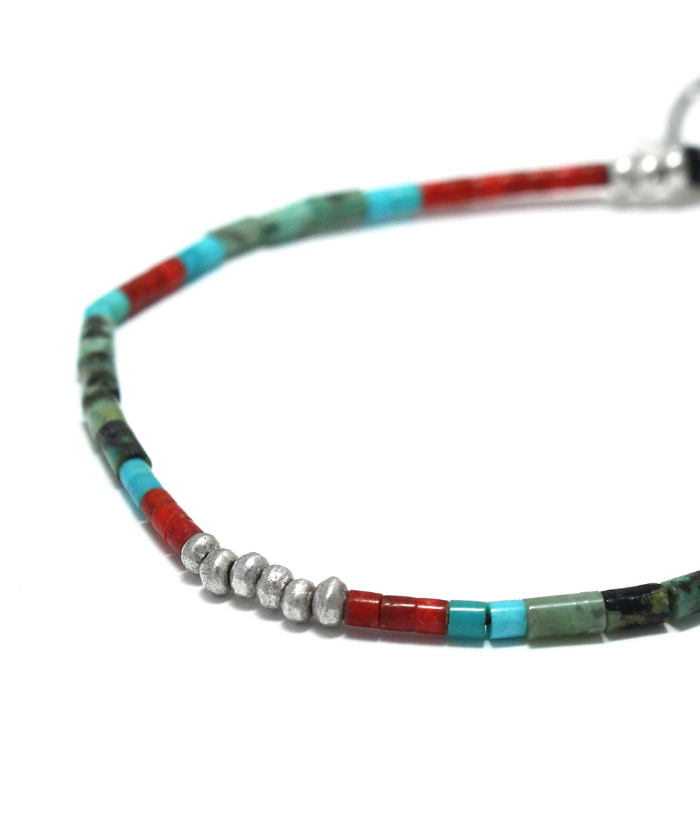 tube beads coral / african turquoise bracelet