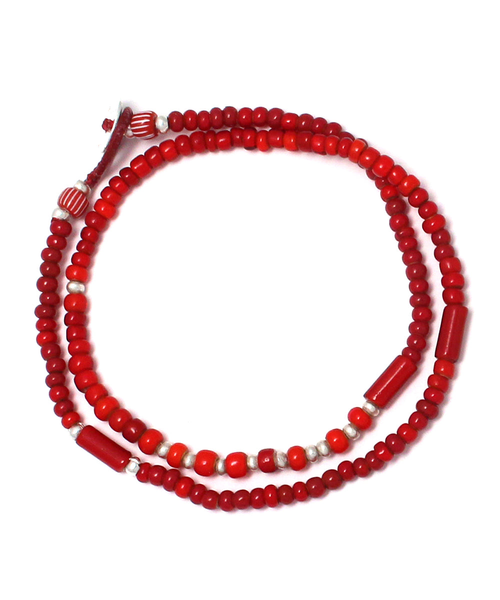 white hearts double wrap bracelet / red