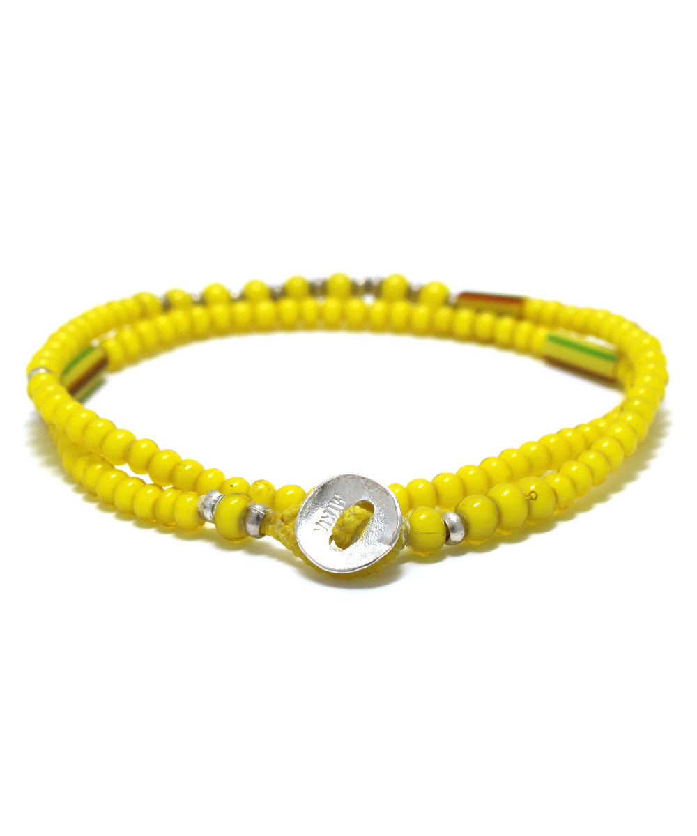 white hearts double wrap bracelet / yellow