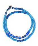 white hearts double wrap bracelet / blue