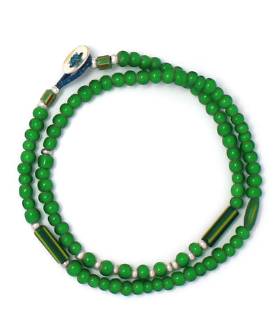 white hearts double wrap bracelet / green