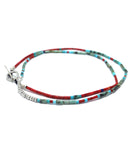 tube beads coral / african turquoise necklace