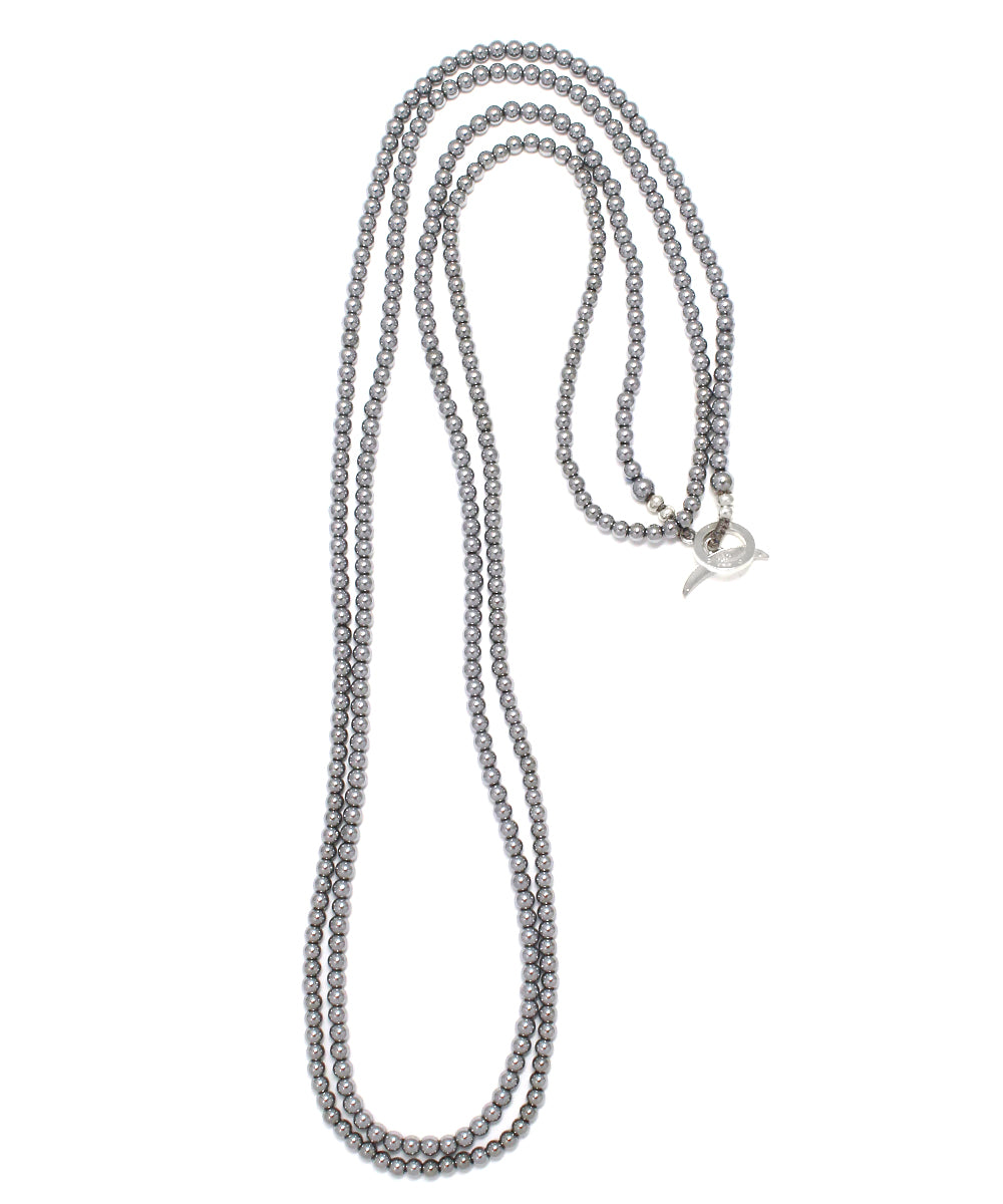 hematite silver long necklace / 3mm