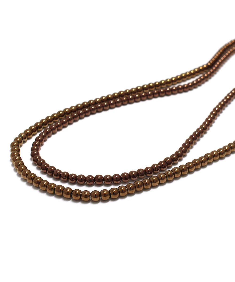 hematite copper long necklace / 3mm