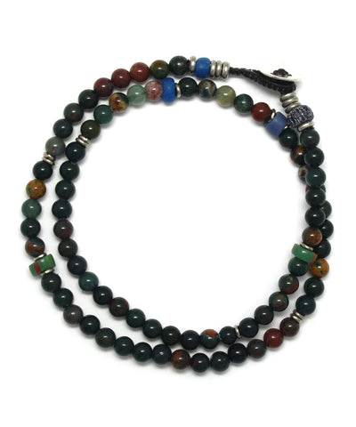 4mm double wrap bracelet / blood stone