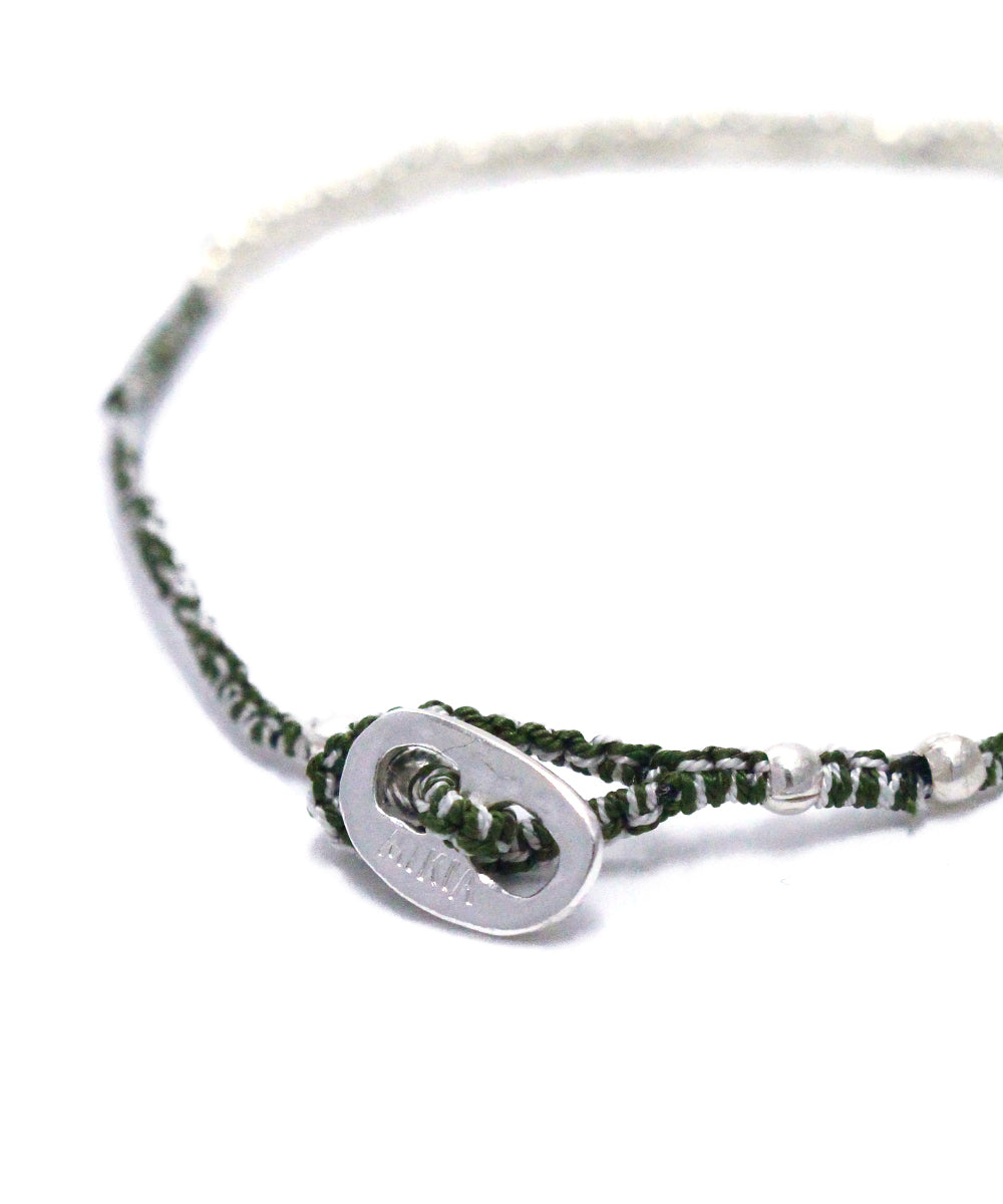 small silver beads bracelet / moss agate